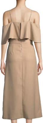 J.o.a. Cold-Shoulder Button-Front A-Line Midi Dress