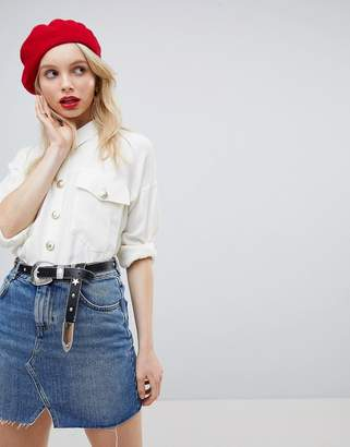 Asos Design Oversized Shirt With Vintage Button Detail