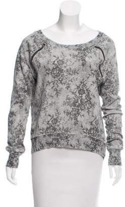 Pam & Gela Zipper-Accented Printed Sweatshirt