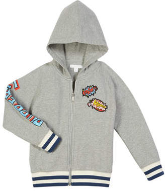 Burberry Mannis Comic Book Patches Zip-Up Hooded Jacket, Size 4-14