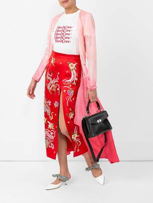 ATTICO Embellished satin skirt