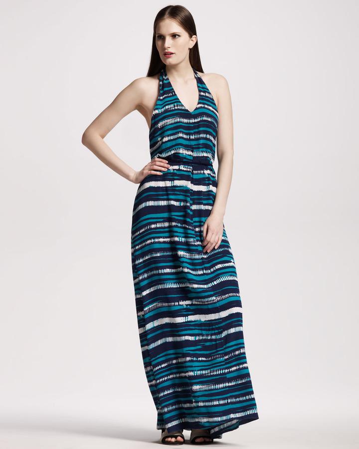 Gryphon Striped Halter Maxi Dress