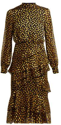 Saloni Isa Fil Coupe Silk Blend Georgette Dress - Womens - Black Yellow