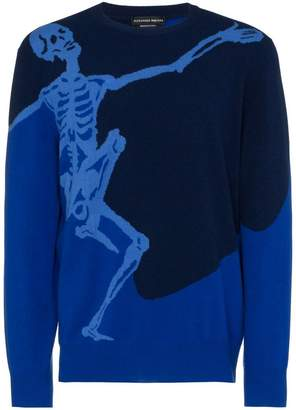 Alexander McQueen Blue wool dancing skeleton jumper