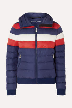 Perfect Moment - Queenie Striped Quilted Down Jacket - Navy