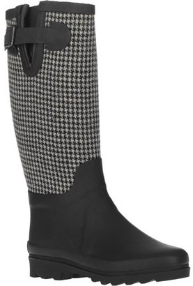 FOREVER YOUNG Forever Young Women's Hounds tooth Water Resistant Fabric Two Tone Tall Rain Boot