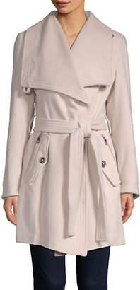 London Fog Wool-Blend Envelope Collar Belted Coat