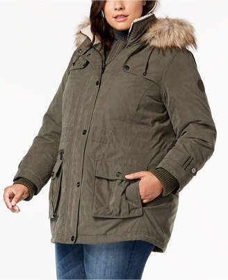 DKNY Plus Size Faux-Fur-Trim Hooded Anorak Coat