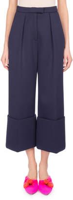 DELPOZO Cuffed Wide-Leg Pants, Blue