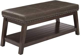 Ave Six Emery Entry Bench with Nailhead Accents and Espresso Finish Wood Frame