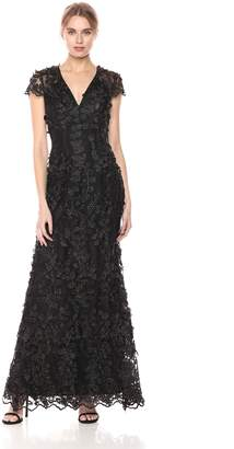 Carmen Marc Valvo Women's V Front Sequin Novelty Gown W. Cap Sleeves