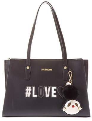 Love Moschino Black Shopping Bag With Key Ring