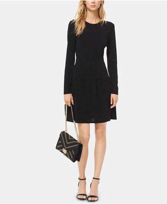 Michael Kors Printed Long-Sleeve Drop-Waist Dress in Regular & Petite Sizes