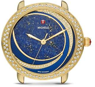 Michele Serein Blue Lapis Dial & Diamond Bezel Watch, 34mm x 36mm