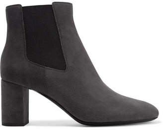 Saint Laurent Lou Suede Ankle Boots - Charcoal