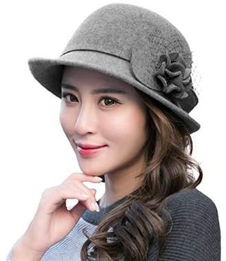 Siggi 100% Wool Felt Cloche Hat Ladies 1920s Vintage Derby Church Flapper Bowler Hat Winter Grey