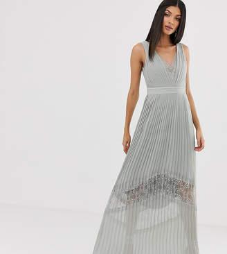 Little Mistress Tall lace insert pleated maxi dress in waterlily