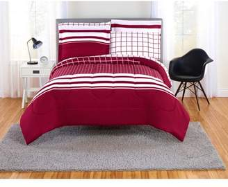 Mainstays Even Plaid Red and White Bed in a Bag Bedding Set, Multiple Sizes