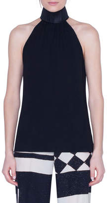 Akris Silk Halter Top with Horsehair Collar