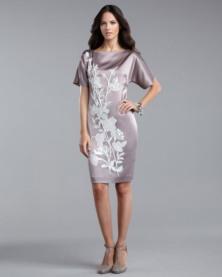 Floral-Applique Liquid Satin Dress