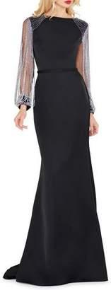 Mac Duggal Chain-Sleeve Column Gown