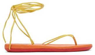 Ancient Greek Sandals Bi Colour Wraparound Leather Sandals - Womens - Yellow Multi