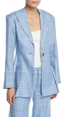 Maggie Marilyn Suit Yourself Linen Check Peplum Blazer