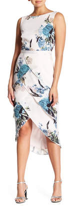 Kay Unger Tiered Floral Cocktail Dress