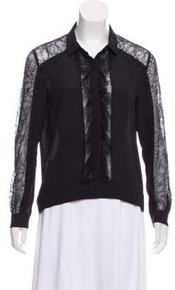 The Kooples Lace-Accented Long Sleeve Top