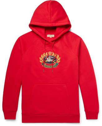 Burberry Logo-Embroidered Fleece-back Cotton-Blend Jersey Hoodie - Red