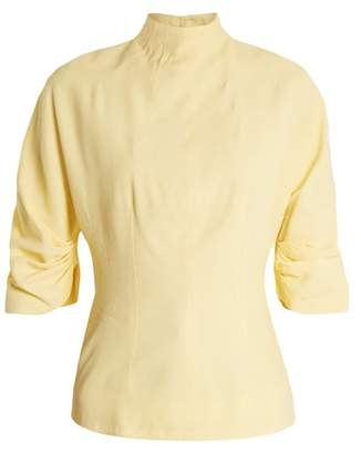 Emilia Wickstead Cut Out Back High Neck Top - Womens - Light Yellow