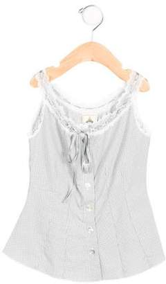 Dagmar Daley Girls' Gingham Lace-Trimmed Top