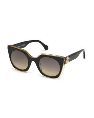 Roberto Cavalli Square Acetate Gradient Sunglasses, Black