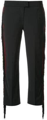 CK Calvin Klein fringe contrast trim trousers