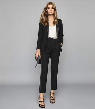 Reiss HAILEY Silk Trimmed Wool Blend Blazer Black