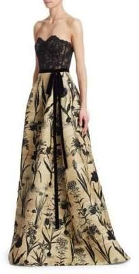 Oscar de la Renta Strapless Lace Bustier Full Skirt Gown