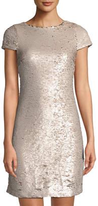 Sam Edelman Cap-Sleeve Sequin Cocktail Dress