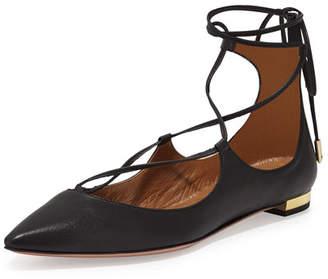 Aquazzura Christy Lace-Up Pointed-Toe Flat, Black