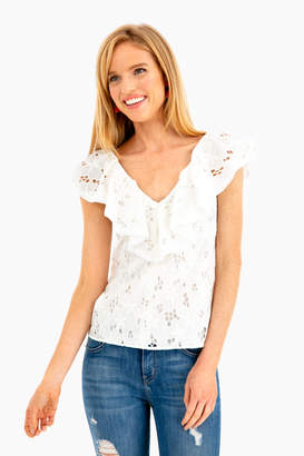 Rebecca Taylor Sleeveless Adriana Ruffle Top