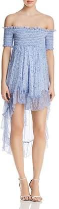 Karina Grimaldi Carol Smocked Off-the-Shoulder Floral-Print Dress