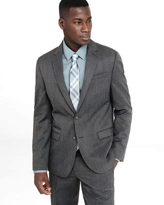 Express Slim Gray Wool Blend Twill Suit Jacket