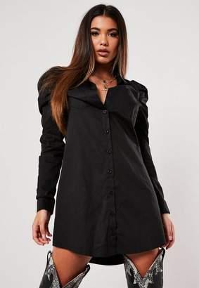 Missguided Black Puff Sleeve Mini Shirt Dress
