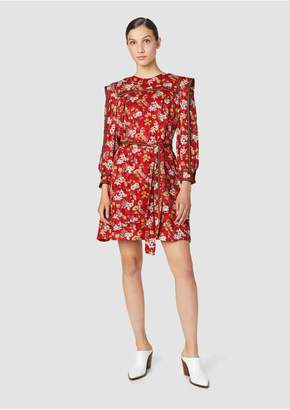 Derek Lam 10 Crosby Belted Bouquet Floral Print Silk-Blend Jacquard Shift Dress