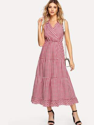 Shein Notch Collar Gingham Tiered Ruffle Dress