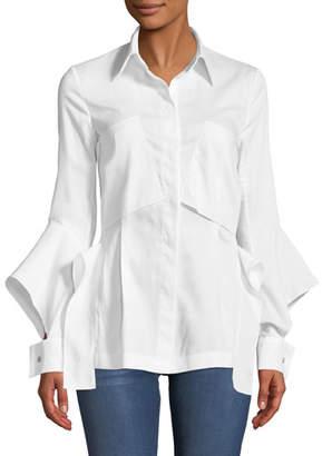 Roland Mouret Deconstructed Button-Front Split-Cuff Cotton Pique Pocket Shirt