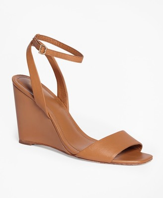 Brooks Brothers Leather Ankle-Strap Open-Toe Wedges