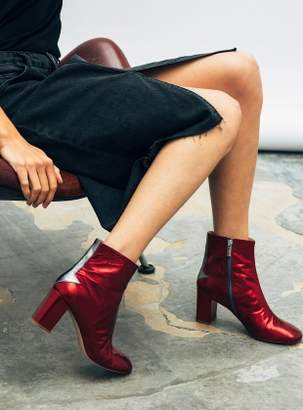 Camilla Elphick Silver Lining Ankle Boots in Metallic Cerise