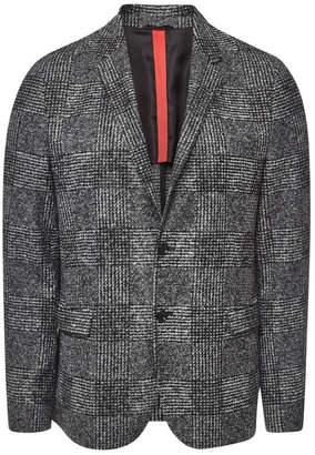 HUGO Arwido Checked Coat with Virgin Wool