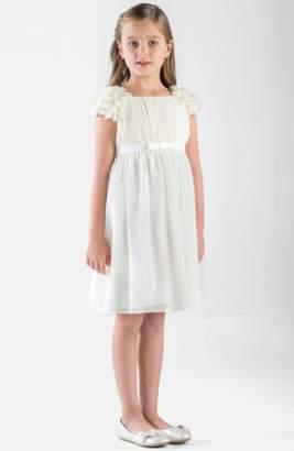 Us Angels Petal Sleeve Chiffon Dress