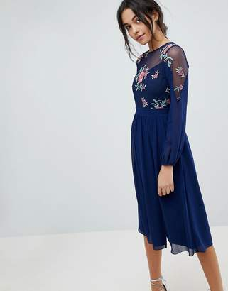 Little Mistress Embroidered Top Midi Long Sleeve Skater Dress